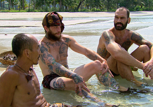 Kyle Jason, Scot Pollard and Tai Trang on Episode 10 of Survivor: Kaoh Rong.