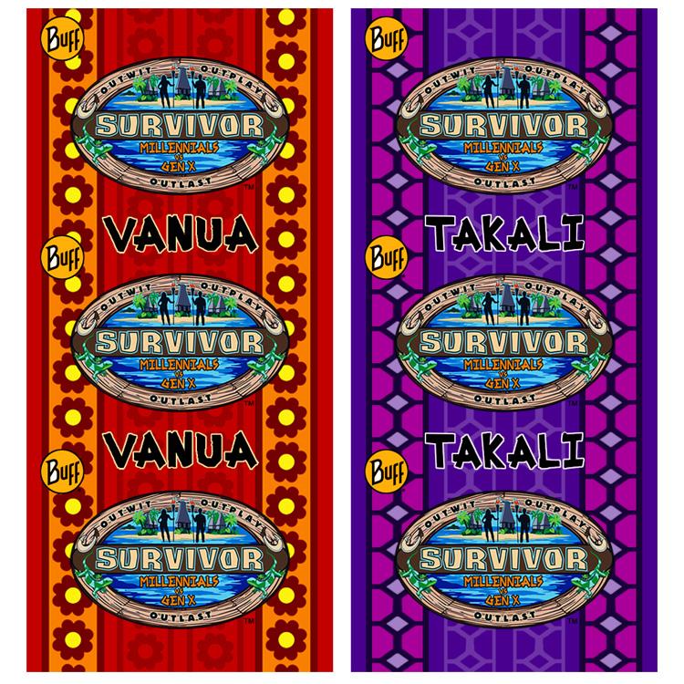 The rumored buff designs for Survivor: Millennials vs Gen X.