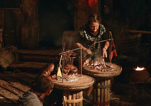Aubry Bracco and Cydney Gillon in a fire-making challenge in Episode 14 of Survivor: Kaoh Rong.
