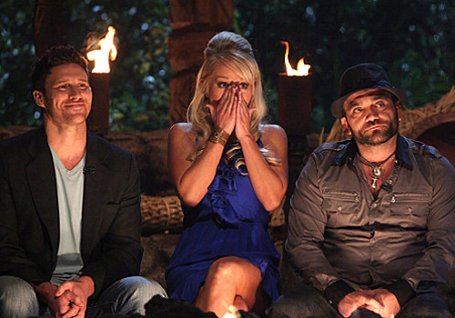 Mick Trimming, Natalie White and Russell Hantz at the Survivor: Samoa finale.