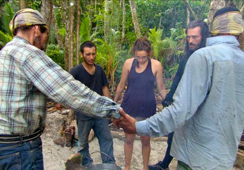 "Albert Destrade, Benjamin ""Coach"" Wade, Brandon Hantz, Rick Nelso and Sophie Clarke on Survivor: South Pacific."