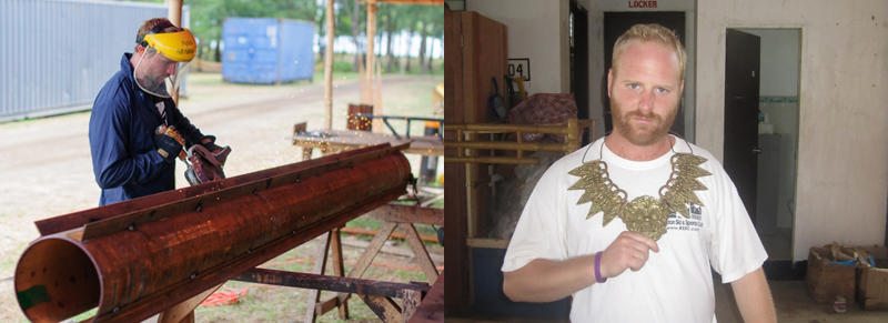 A battering ram from Survivor: Cagayan that has been wielded by the art department and a crew member showing off a half-completed Cagayan immunity necklace. Source: CBS.com.