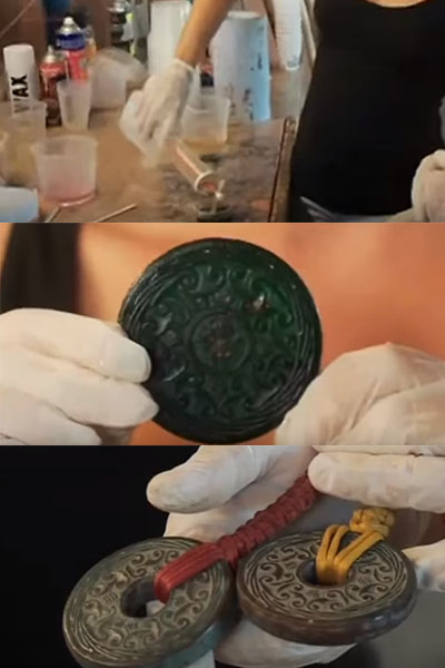 Making a hidden immunity idol. Source: Screengrabs from Blood vs. Water TVGuide special.