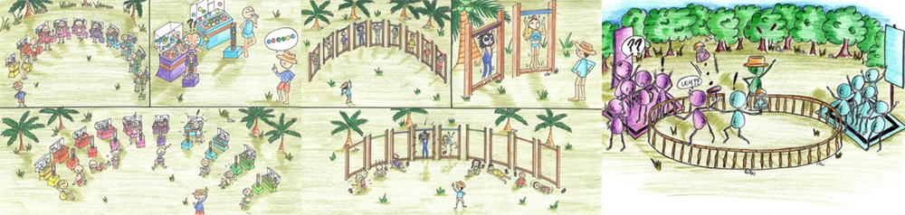 Some challenge sketches by John Kirhoffer - the Survivor challenge producer. Source: CBS.com.