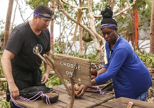 Bret and CeCe in Episode 1 of Survivor: Millennials vs. Gen X. Photo: CBS.