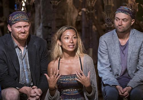 Chris, David and Rachel at tribal council in Episode 1 of Survivor: Millennials vs. Gen X. Photo: CBS.
