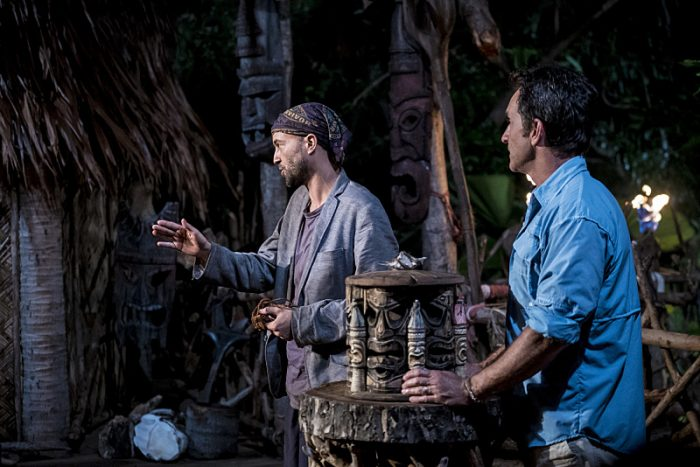 """Who's the Sucker at the Table?"" - David Wright and Jeff Probst at Tribal Council on the fourth episode of SURVIVOR: Millennials vs. Gen. X, airing Wednesday, Oct. 12(8:00-9:00 PM, ET/PT) on the CBS Television Network. Photo: Monty Brinton/CBS Entertainment ©2016 CBS Broadcasting, Inc. All Rights Reserved."