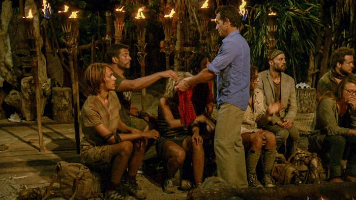 """Million Dollar Gamble"" - Will Wahl, Bret LaBelle, Sunday Burquest, Adam Klein, Jeff Probst, Hannah Shapiro, David Wright and Jessica Lewis at Tribal Council on SURVIVOR: Millennials vs. Gen. X, on a two-hour SURVIVOR, Wednesday, Nov. 23 (8:00-10:00 PM, ET/PT) on the CBS Television Network.. Photo: Screen Grab/CBS Entertainment ©2016 CBS Broadcasting, Inc. All Rights Reserved."