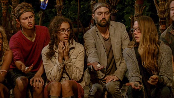 """Million Dollar Gamble"" - Adam Klein, Hannah Shapiro, David Wright and Jessica Lewis at Tribal Council on SURVIVOR: Millennials vs. Gen. X, on a two-hour SURVIVOR, Wednesday, Nov. 23 (8:00-10:00 PM, ET/PT) on the CBS Television Network.. Photo: Screen Grab/CBS Entertainment ©2016 CBS Broadcasting, Inc. All Rights Reserved."