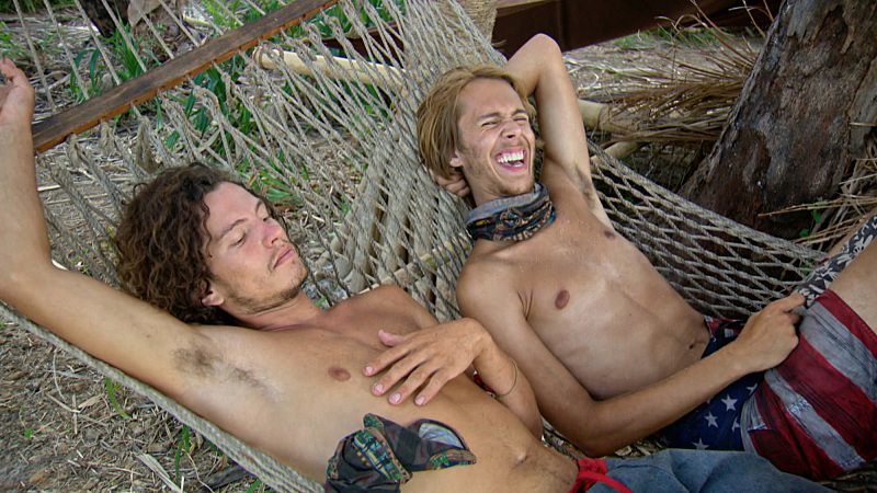 """""""Slayed The Survivor Dragon"""" - Justin Starrett and Will Wahl on the thirteenth episode of SURVIVOR: Millennials vs. Gen. X, Wednesday, Dec. 7 (8:00-9:00 PM, ET/PT) on the CBS Television Network. Photo: Screen Grab/CBS Entertainment ©2016 CBS Broadcasting, Inc. All Rights Reserved."""