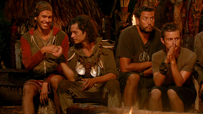 """Slayed The Survivor Dragon"" - Will Wahl, Justin Starrett, Bret LaBelle and Adam Klein at Tribal Council on the thirteenth episode of SURVIVOR: Millennials vs. Gen. X, Wednesday, Dec. 7 (8:00-9:00 PM, ET/PT) on the CBS Television Network. Photo: Screen Grab/CBS Entertainment ©2016 CBS Broadcasting, Inc. All Rights Reserved."