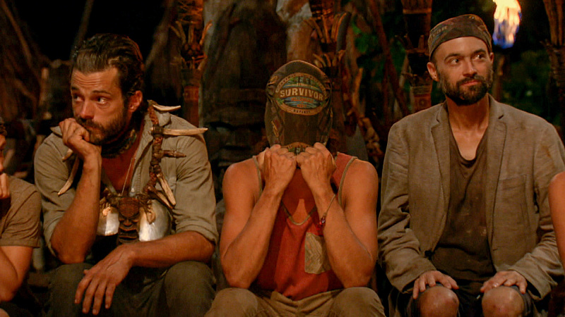 """Slayed The Survivor Dragon"" - Ken McNickle, Justin Starrett and David Wright at Tribal Council on the thirteenth episode of SURVIVOR: Millennials vs. Gen. X, Wednesday, Dec. 7 (8:00-9:00 PM, ET/PT) on the CBS Television Network. Photo: Screen Grab/CBS Entertainment ©2016 CBS Broadcasting, Inc. All Rights Reserved."