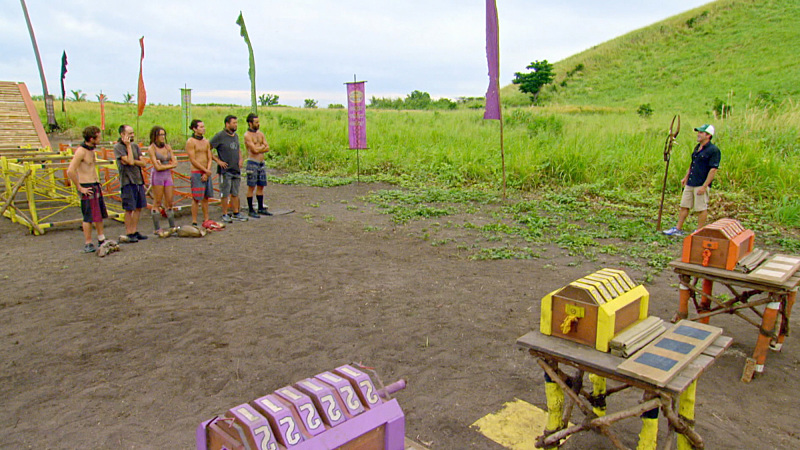 """""""I'm Going For a Million Bucks"""" - Jeff Probst addresses Adam Klein, David Wright, Hannah Shapiro, Justin Starrett, Bret LaBelle and Ken McNickle on the Final episode of SURVIVOR: Millennials vs. Gen. X. Steady hands will earn a spot in the final three and a chance at the million dollar prize. Then, after 39 days, one castaway will be crowned Sole Survivor, on the two-hour season finale, followed by the one-hour live reunion show hosted by Emmy Award winner Jeff Probst, on SURVIVOR, Wednesday, Dec. 14 (8:00-11:00 PM, ET/PT) on the CBS Television Network. Photo: Screen Grab/CBS Entertainment ©2016 CBS Broadcasting, Inc. All Rights Reserved."""