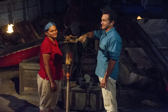 """Vote Early, Vote Often"" - Jeff Probst extinguishes Sandra Diaz-Twine's torch at Tribal Council on the sixth episode of SURVIVOR: Game Changers, airing Wednesday, April 5 (8:00-9:00 PM, ET/PT) on the CBS Television Network. Photo: Jeffrey Neira/CBS Entertainment ©2017 CBS Broadcasting, Inc. All Rights Reserved."