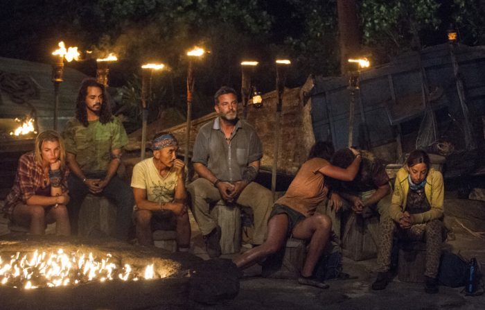 """""""What Happened on Exile, Stays on Exile"""" - Andrea Boehlke, Oscar """"Ozzy"""" Lusth, Tai Trang, Jeff Varner, Sarah Lacina, Zeke Smith and Debbie Wanner at Tribal Council on the seventh episode of SURVIVOR: Game Changers, airing Wednesday, April 12 (8:00-9:00 PM, ET/PT) on the CBS Television Network. Photo: Jeffrey Neira/CBS Entertainment ©2017 CBS Broadcasting, Inc. All Rights Reserved."""