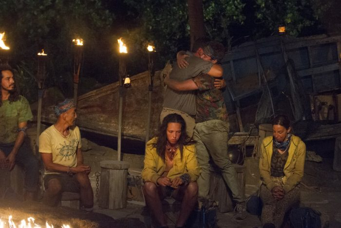 """""""What Happened on Exile, Stays on Exile"""" - Oscar """"Ozzy"""" Lusth, Tai Trang, Jeff Varner, Sarah Lacina, Zeke Smith and Debbie Wanner at Tribal Council on the seventh episode of SURVIVOR: Game Changers, airing Wednesday, April 12 (8:00-9:00 PM, ET/PT) on the CBS Television Network. Photo: Jeffrey Neira/CBS Entertainment ©2017 CBS Broadcasting, Inc. All Rights Reserved."""