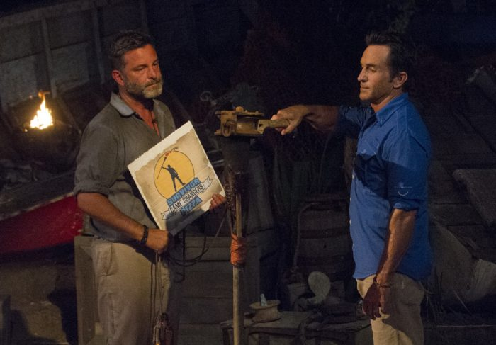 """""""What Happened on Exile, Stays on Exile"""" - Jeff Probst extinguishes Jeff Varner's torch at Tribal Council on the seventh episode of SURVIVOR: Game Changers, airing Wednesday, April 12 (8:00-9:00 PM, ET/PT) on the CBS Television Network. Photo: Jeffrey Neira/CBS Entertainment ©2017 CBS Broadcasting, Inc. All Rights Reserved."""