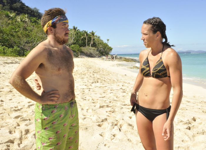"""""""There's A New Sheriff in Town"""" - Zeke Smith and Sarah Lacina on the eighth and ninth episode of SURVIVOR: Game Changers, airing Wednesday, April 19 (8:00-10:00 PM, ET/PT) on the CBS Television Network. Photo: Jeffrey Neira/CBS Entertainment ©2017 CBS Broadcasting, Inc. All Rights Reserved."""