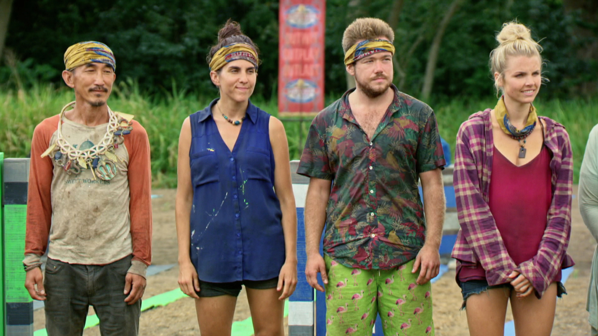 """""""A Line Drawn in Concrete"""" - Tai Trang, Aubry Bracco, Zeke Smith and Andrea Boehlke on the tenth episode of SURVIVOR: Game Changers, airing Wednesday, April 26 (8:00-9:00 PM, ET/PT) on the CBS Television Network. Photo: Screen Grab/CBS Entertainment ©2017 CBS Broadcasting, Inc. All Rights Reserved."""
