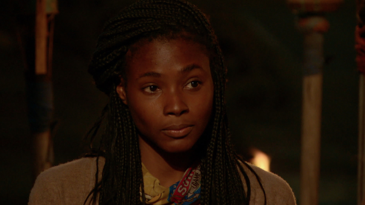 """""""A Line Drawn in Concrete"""" - Michaela Bradshaw on the tenth episode of SURVIVOR: Game Changers, airing Wednesday, April 26 (8:00-9:00 PM, ET/PT) on the CBS Television Network. Photo: Screen Grab/CBS Entertainment ©2017 CBS Broadcasting, Inc. All Rights Reserved."""