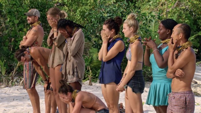 """It Is Not a High Without a Low"" - Brad Culpepper, Troyzan Robertson, Sierra Dawn-Thomas, Michaela Bradshaw, Sarah Lacina, Aubry Bracco, Andrea Boehlke, Cirie Fields and Tai Trang on the twelfth episode of SURVIVOR: Game Changers, airing Wednesday, May 10 (8:00-9:00 PM, ET/PT) on the CBS Television Network. Photo: Screen Grab/CBS Entertainment ©2017 CBS Broadcasting, Inc. All Rights Reserved."