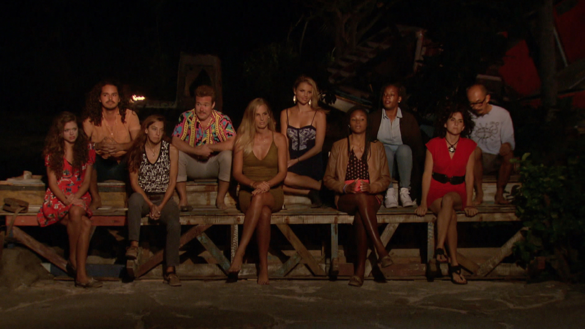 """No Good Deed Goes Unpunished"" - The jury at Tribal Council on the season finale of SURVIVOR: Game Changers, airing Wednesday, May 24 (8:00-10:00 PM, ET/PT) on the CBS Television Network. Photo: Screen Grab/CBS Entertainment ©2017 CBS Broadcasting, Inc. All Rights Reserved."
