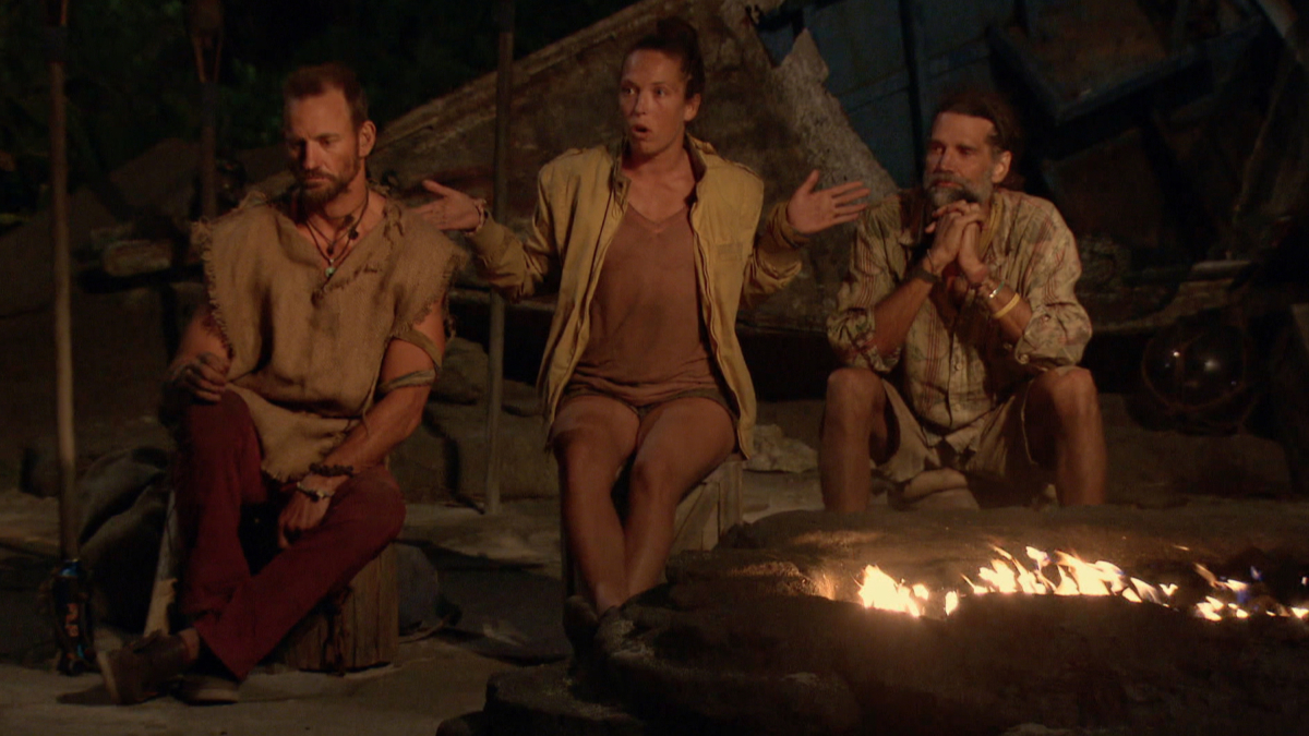 """No Good Deed Goes Unpunished"" - Brad Culpepper, Sarah Lacina and Troyzan Robertson at Tribal Council on the season finale of SURVIVOR: Game Changers, airing Wednesday, May 24 (8:00-10:00 PM, ET/PT) on the CBS Television Network. Photo: Screen Grab/CBS Entertainment ©2017 CBS Broadcasting, Inc. All Rights Reserved."