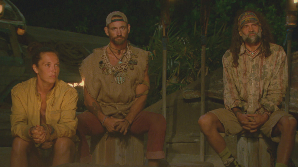 """No Good Deed Goes Unpunished"" - Sarah Lacina, Brad Culpepper and Troyzan Robertson at Tribal Council on the season finale of SURVIVOR: Game Changers, airing Wednesday, May 24 (8:00-10:00 PM, ET/PT) on the CBS Television Network. Photo: Screen Grab/CBS Entertainment ©2017 CBS Broadcasting, Inc. All Rights Reserved."