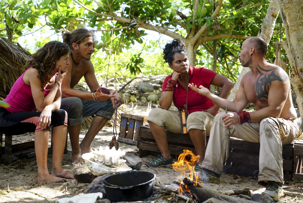 """The Stakes Have Been Raised"" - Hali Ford, Malcolm Freberg, Sandra Diaz-Twine and Tony Vlachos on SURVIVOR: Game Changers. The Emmy Award-winning series returns for its 34th season with a special two-hour premiere, Wednesday, March 8 (8:00-10:00 PM, ET/PT) on the CBS Television Network. Notably, the season premiere marks the 500th episode of the series. Photo: Timothy Kuratek/CBS Entertainment ©2017 CBS Broadcasting, Inc. All Rights Reserved."