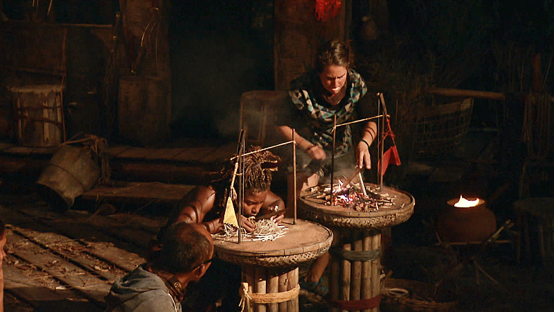 """""""Not Going Down Without a Fight"""" -- Cydney Gillon and Aubry Bracco compete in the fire-making challenge at Tribal Council during the finale episode of SURVIVOR: KAOH RONG -- Brains vs. Brawn vs. Beauty. The two-hour season finale, followed by the one-hour live reunion show hosted by Emmy Award winner Jeff Probst, on SURVIVOR, will air Wednesday, May 18 (8:00-11:00 PM, ET/PT) on the CBS Television Network. Photo: Screen Grab /CBS Entertainment ©2016 CBS Broadcasting, Inc. All Rights. Reserved."""