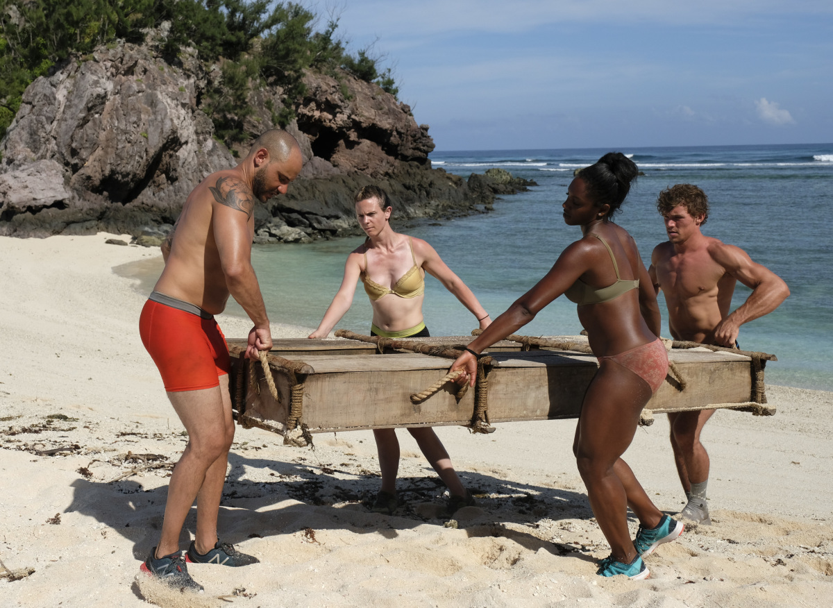 """I'm a Wild Banshee"" - Joe Mena, Roark Luskin, Desiree Williams, and Cole Medders on the second episode of SURVIVOR 35, themed Heroes vs. Healers vs. Hustlers, airing Wednesday, October 4 (8:00-9:00 PM, ET/PT) on the CBS Television Network. Photo: Timothy Kuratek/CBS ©2017 CBS Broadcasting Inc. All Rights Reserved"