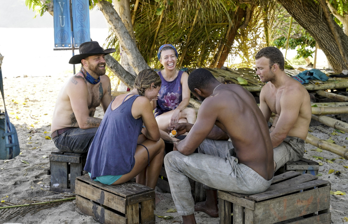 """I'm a Wild Banshee"" - Ben Driebergen, Ashley Nolan, Chrissy Hofbeck, John ""JP"" Hilsabeck, and Alan Ball on the second episode of SURVIVOR 35, themed Heroes vs. Healers vs. Hustlers, airing Wednesday, October 4 (8:00-9:00 PM, ET/PT) on the CBS Television Network. Photo: Robert Voets/CBS ©2017 CBS Broadcasting Inc. All Rights Reserved"