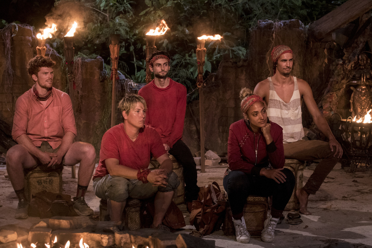 """My Kisses Are Very Private"" - Patrick Bolton, Lauren Rimmer, Ryan Ulrich, Ali Elliott and Devon Pinto at Tribal Council on the third episode of SURVIVOR 35, themed Heroes vs. Healers vs. Hustlers, airing Wednesday, October 11 (8:00-9:00 PM, ET/PT) on the CBS Television Network. Photo: Robert Voets/CBS ©2017 CBS Broadcasting Inc. All Rights Reserved"