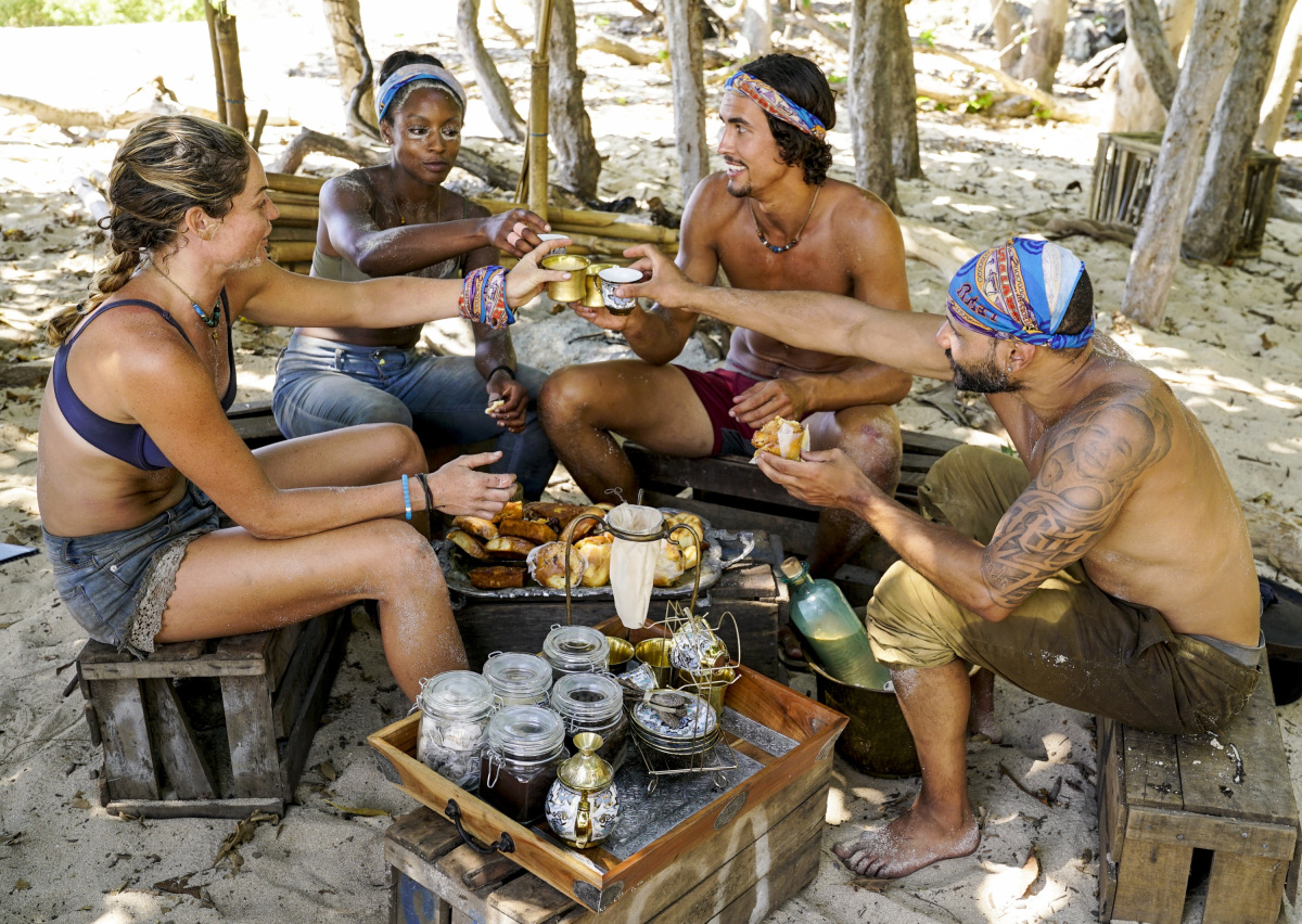 """The Past Will Eat You Alive"" - Ashley Nolan, Desiree Williams, Devon Pinto and Joe Mena on the fifth episode of SURVIVOR 35, themed Heroes vs. Healers vs. Hustlers, airing Wednesday, October 25 (8:00-9:00 PM, ET/PT) on the CBS Television Network. Photo: Robert Voets/CBS ©2017 CBS Broadcasting Inc. All Rights Reserved"