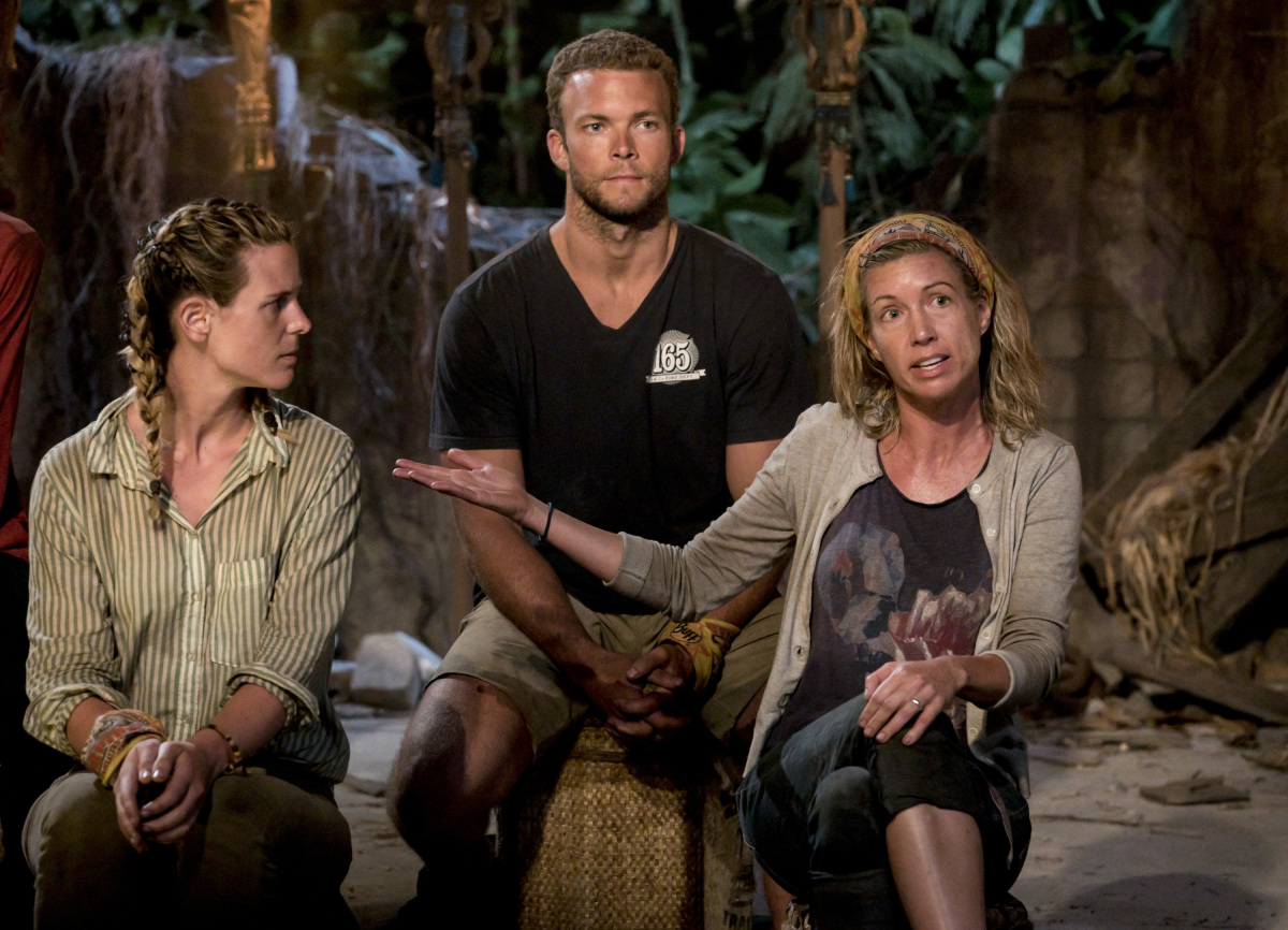 """The Past Will Eat You Alive"" - Roark Luskin, John ""JP"" Hilsabeck and Chrissy Hofbeck at Tribal Council on the fifth episode of SURVIVOR 35, themed Heroes vs. Healers vs. Hustlers, airing Wednesday, October 25 (8:00-9:00 PM, ET/PT) on the CBS Television Network. Photo: Robert Voets/CBS ©2017 CBS Broadcasting Inc. All Rights Reserved"