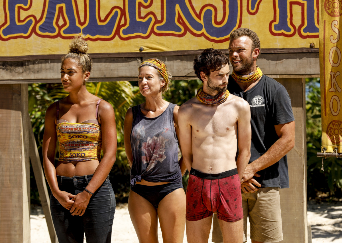"""This is Why You Play Survivor"" - Ali Elliott, Chrissy Hofbeck, Ryan Ulrich and John ""JP"" Hilsabeck on the sixth episode of SURVIVOR 35, themed Heroes vs. Healers vs. Hustlers, airing Wednesday, November 1 (8:00-9:00 PM, ET/PT) on the CBS Television Network. Photo: Robert Voets/CBS ©2017 CBS Broadcasting Inc. All Rights Reserved"