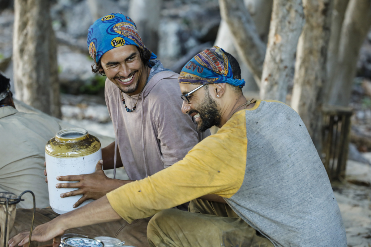 """""""This is Why You Play Survivor"""" - Devon Pinto and Joe Mena on the sixth episode of SURVIVOR 35, themed Heroes vs. Healers vs. Hustlers, airing Wednesday, November 1 (8:00-9:00 PM, ET/PT) on the CBS Television Network. Photo: Robert Voets/CBS ©2017 CBS Broadcasting Inc. All Rights Reserved"""