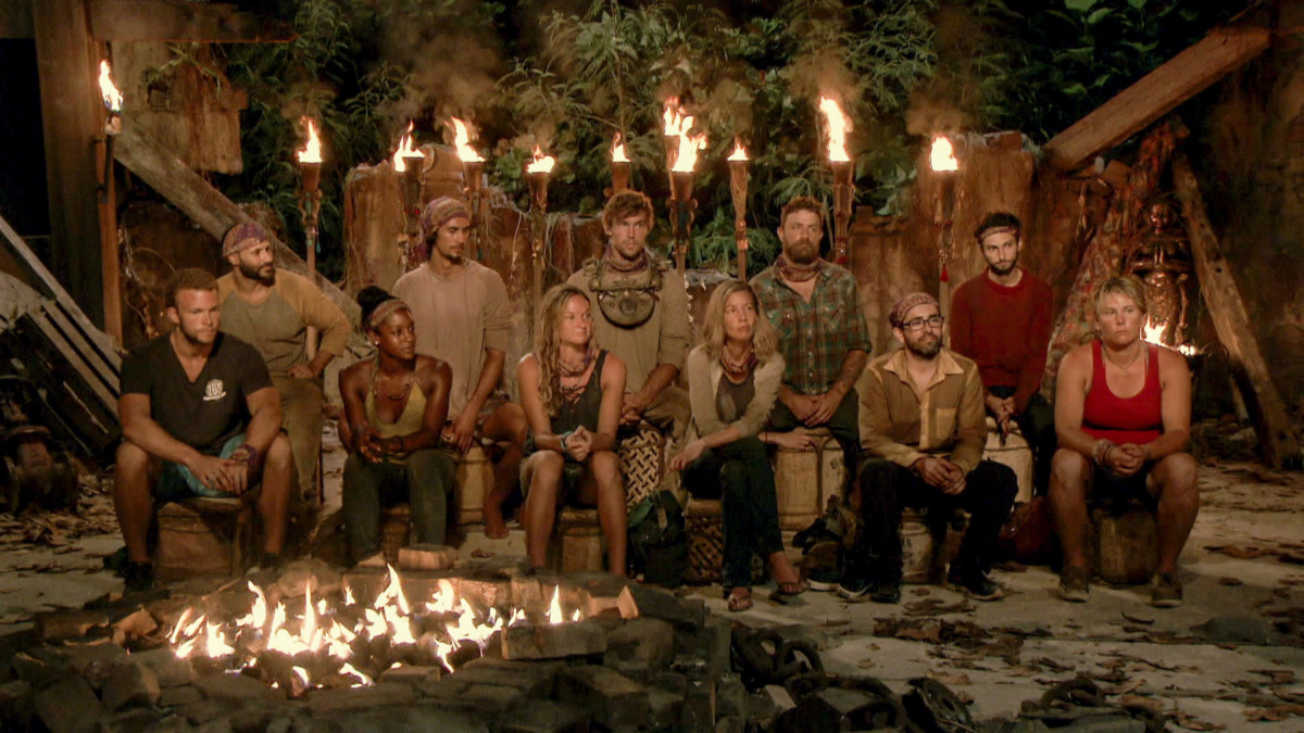 """Playing with the Devil"" - John ""JP"" Hilsabeck, Joe Mena, Desiree Williams, Devon Pinto, Ashley Nolan, Cole Medders, Chrissy Hofbeck, Ben Driebergen, Mike Zahalsky, Ryan Ulrich and Lauren Rimmer at Tribal Council on the eighth episode of SURVIVOR 35, themed Heroes vs. Healers vs. Hustlers, airing Wednesday, November 15 (8:00-9:00 PM, ET/PT) on the CBS Television Network. Photo: Screen GrabCBS ©2017 CBS Broadcasting Inc. All Rights Reserved."