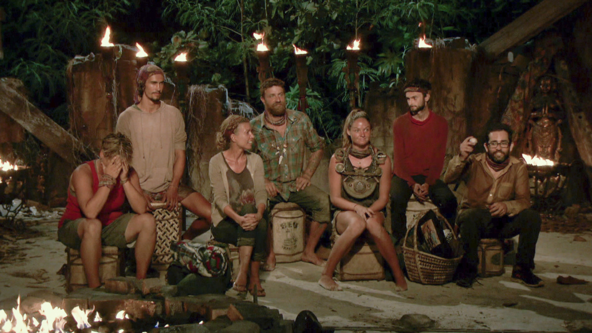 """""""Not Going To Roll Over And Die"""" - Lauren Rimmer, Devon Pinto, Chrissy Hofbeck, Ben Driebergen, Ashley Nolan, Ryan Ulrich and Mike Zahalsky at Tribal Council on the twelfth episode of SURVIVOR 35, themed Heroes vs. Healers vs. Hustlers, airing Wednesday, December 6 (8:00-9:00 PM, ET/PT) on the CBS Television Network. Photo: Screen Grab/CBS ©2017 CBS Broadcasting Inc. All Rights Reserved"""