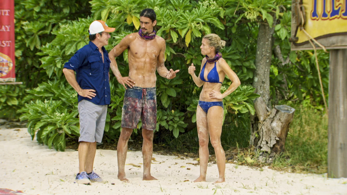 """The Survivor Devil"" - Jeff Probst, Devon Pinto and Chrissy Hofbeck on the thirteenth episode of SURVIVOR 35, themed Heroes vs. Healers vs. Hustlers, airing Wednesday, December 13 (8:00-9:00 PM, ET/PT) on the CBS Television Network. Photo: Screen Grab/CBS ©2017 CBS Broadcasting Inc. All Rights Reserved."