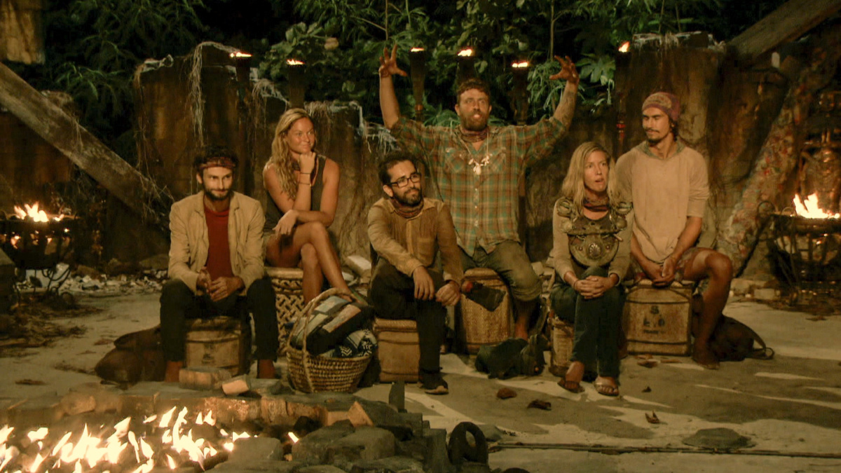 """The Survivor Devil"" - Ryan Ulrich, Ashley Nolan, Mike Zahalsky, Ben Driebergen, Chrissy Hofbeck and Devon Pinto at Tribal Council on the thirteenth episode of SURVIVOR 35, themed Heroes vs. Healers vs. Hustlers, airing Wednesday, December 13 (8:00-9:00 PM, ET/PT) on the CBS Television Network. Photo: Screen Grab/CBS ©2017 CBS Broadcasting Inc. All Rights Reserved."