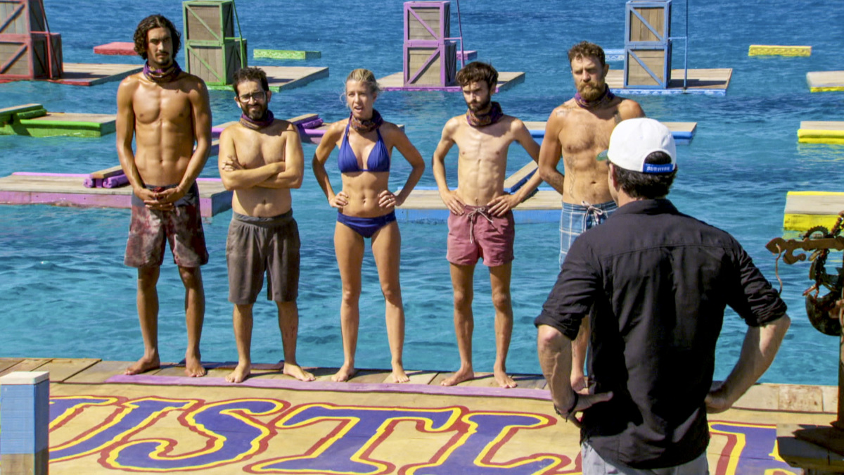 """""""Million Dollar Night"""" - Devon Pinto, Mike Zahalsky, Chrissy Hofbeck, Ryan Ulrich and Ben Driebergen on the finale of SURVIVOR 35, themed Heroes vs. Healers vs. Hustlers, airing Wednesday, December 20 (8:00-10:00 PM, ET/PT) on the CBS Television Network. Photo: Screen Grab/CBS ©2017 CBS Broadcasting Inc. All Rights Reserved."""