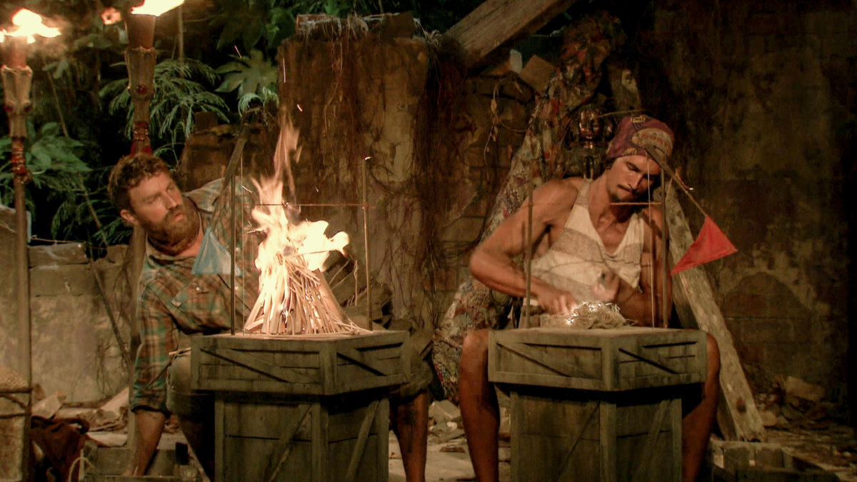 """""""Million Dollar Night"""" - Ben Driebergen and Devon Pinto at Tribal Council on the finale of SURVIVOR 35, themed Heroes vs. Healers vs. Hustlers, airing Wednesday, December 20 (8:00-10:00 PM, ET/PT) on the CBS Television Network. Photo: Screen Grab/CBS ©2017 CBS Broadcasting Inc. All Rights Reserved."""