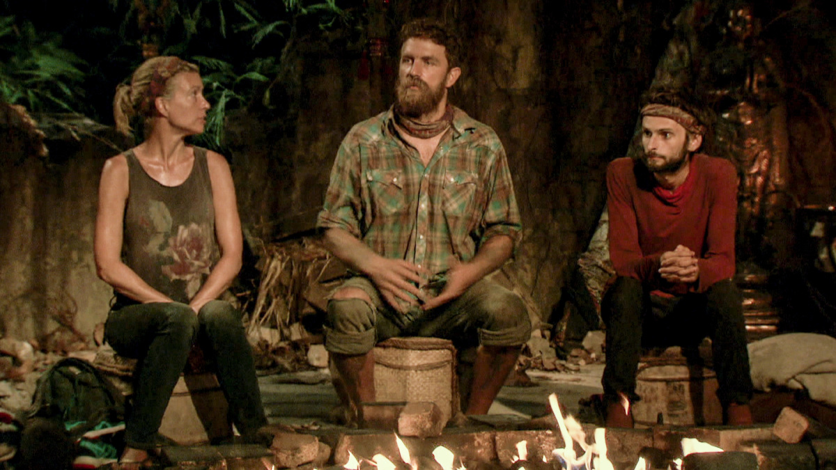 """""""Million Dollar Night"""" - Chrissy Hofbeck, Ben Driebergen and Ryan Ulrich at Tribal Council on the finale of SURVIVOR 35, themed Heroes vs. Healers vs. Hustlers, airing Wednesday, December 20 (8:00-10:00 PM, ET/PT) on the CBS Television Network. Photo: Screen Grab/CBS ©2017 CBS Broadcasting Inc. All Rights Reserved."""