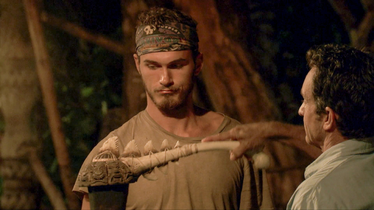 """The Finish Line Is In Sight"" - Jeff Probst extinguishes Michael Yerger's torch at Tribal Council on the eleventh episode of Survivor: Ghost Island, airing Wednesday, May 2 (8:00-9:01 PM, ET/PT) on the CBS Television Network. Photo: Screen Grab/CBS Entertainment ©2018 CBS Broadcasting, Inc. All Rights Reserved."