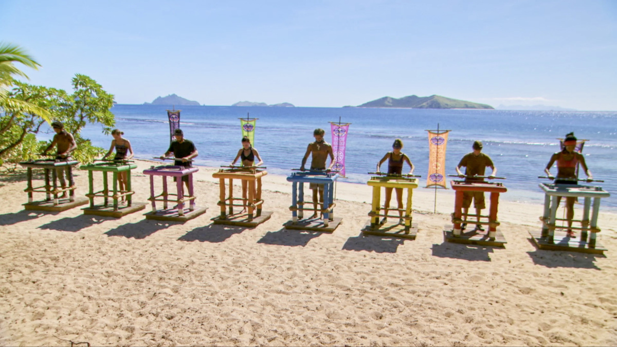 """A Giant Game of Bumper Cars"" - Wendell Holland, Kellyn Bechtold, Domenick Abbate, Chelsea Townsend, Sebastian Noel, Angela Perkins, Donathan Hurley and Laurel Johnson on the twelfth episode of Survivor: Ghost Island, airing Wednesday, May 9 (8:00-9:01 PM, ET/PT) on the CBS Television Network. Photo: Screen Grab/CBS Entertainment ©2018 CBS Broadcasting, Inc. All Rights Reserved."