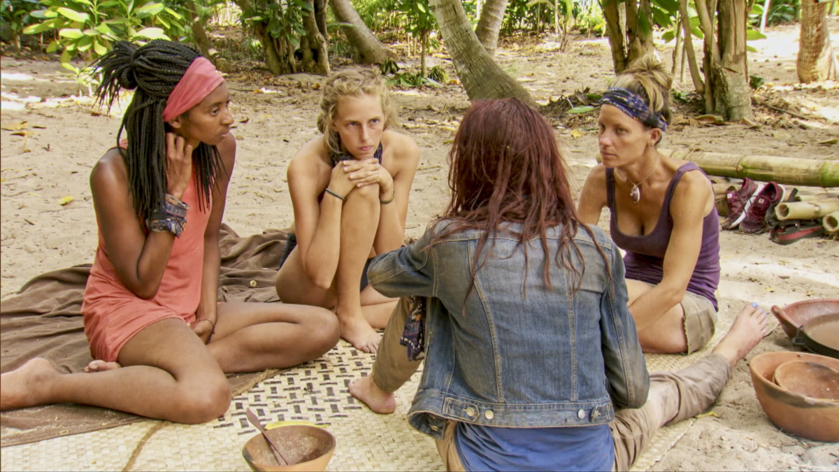 """A Giant Game of Bumper Cars"" - Laurel Johnson, Kellyn Bechtold, Chelsea Townsend and Angela Perkins on the twelfth episode of Survivor: Ghost Island, airing Wednesday, May 9 (8:00-9:01 PM, ET/PT) on the CBS Television Network. Photo: Screen Grab/CBS Entertainment ©2018 CBS Broadcasting, Inc. All Rights Reserved."