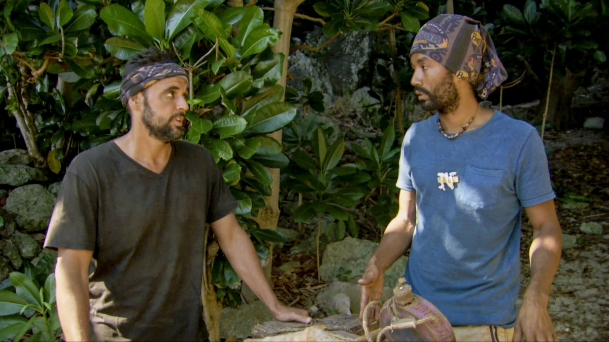 """Always Be Moving"" - Domenick Abbate and Wendell Holland on the thirteenth episode of Survivor: Ghost Island, airing Wednesday, May 16 (8:00-9:01 PM, ET/PT) on the CBS Television Network. Photo: Screen Grab/CBS Entertainment ©2018 CBS Broadcasting, Inc. All Rights Reserved."