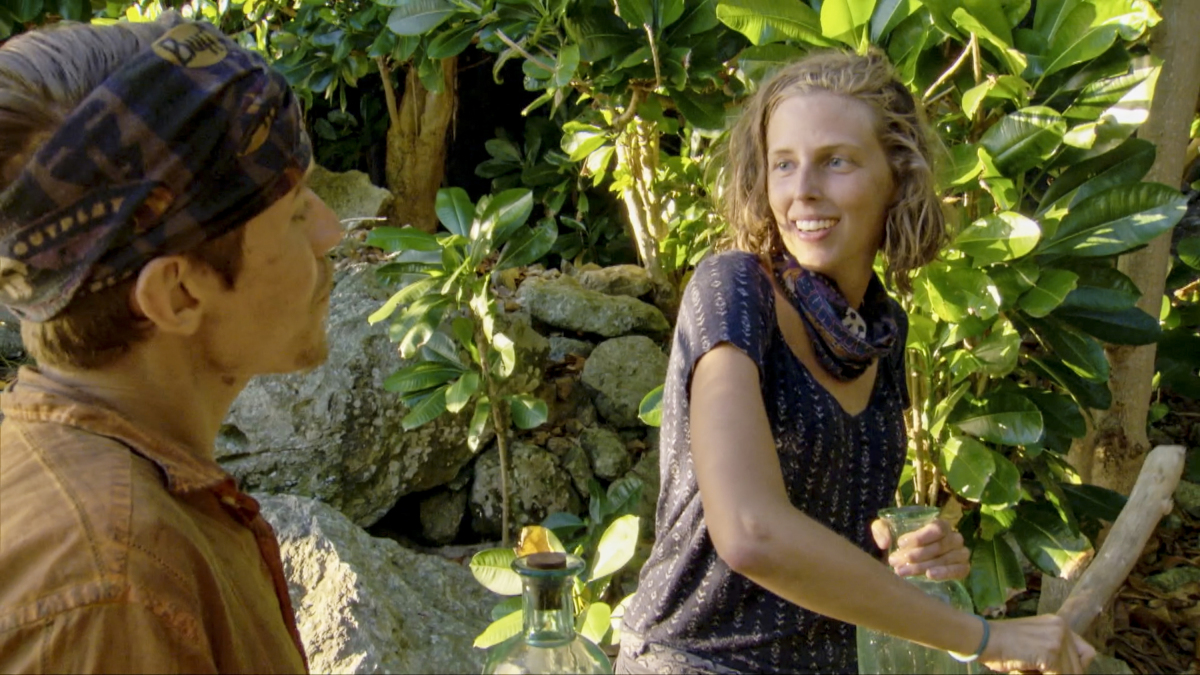 """""""Always Be Moving"""" - Donathan Hurley and Kellyn Bechtold on the thirteenth episode of Survivor: Ghost Island, airing Wednesday, May 16 (8:00-9:01 PM, ET/PT) on the CBS Television Network. Photo: Screen Grab/CBS Entertainment ©2018 CBS Broadcasting, Inc. All Rights Reserved."""