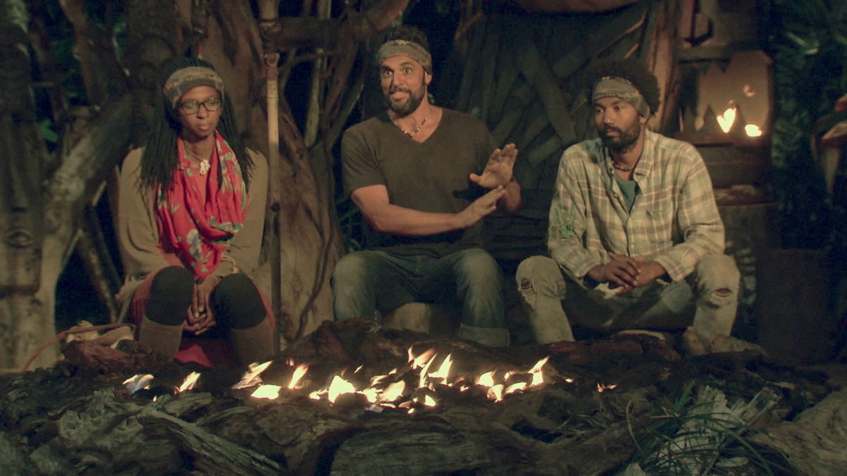 """""""It Is Game Time Kids"""" - Laurel Johnson, Domenick Abbate and Wendell Holland at Tribal Council on the fourteenth episode of Survivor: Ghost Island, which is a two-hour season finale airing Wednesday, May 23 (8:00-11:00 PM, ET/PT) on the CBS Television Network. Photo: Screen Grab/CBS Entertainment ©2018 CBS Broadcasting, Inc. All Rights Reserved."""